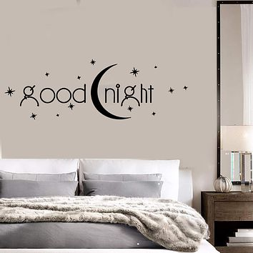 Decal Vinyl Bedroom Quote Goodnight Romance Moon Stars Wall Stickers Unique Gift (ig1408)