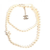CHANEL Pearl CC Long Necklace Light Gold