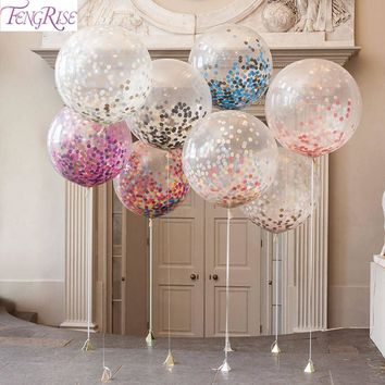 FENGRISE 5pcs 36inch Large Confetti Balloon Multicolor Latex Balloons Birthday Party Romantic Wedding Decoration Party Supplies