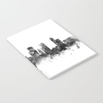 Houston Skyline Black and White Notebook by monnprint