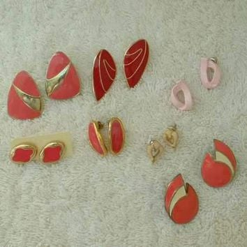 Lot of 7 Enameled Pink Post Style Earrings Enamel Jewelry