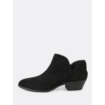 Scalloped Trim Round Toe Bootie