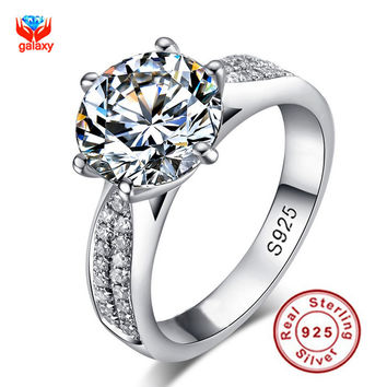 6 GALAXY Luxury 2 Carat CZ Diamond Wedding Ring Bands Anillo 925 Sterling Silver Engagement Ring for Women Jewelry S925 Logo ZR105