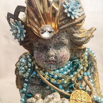 Hand Designed Embellished Angel/Cherub Statue, Home Decor, Reclaimed Vintage Jewelry, Altered Art, Gift Giving