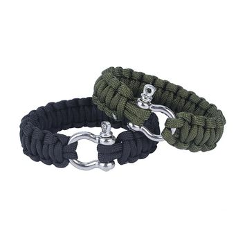 Stainless Steel 550 Survival Paracord Bracelet Shackle Buckle Parachute Cord Rope Outdoor Camping Survival Kit Rope