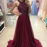 Rhinestones Beaded Long Burgundy Prom Dresses 2017 Wine Red Chiffon Party Gowns Vestido De Festa SAU661