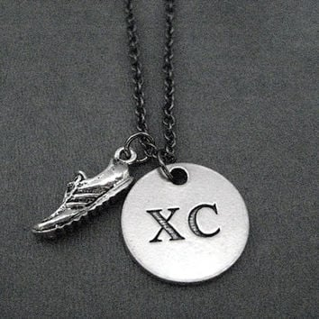 XC Round Pendant with Running Shoe Charm Necklace - Pewter Charms on Gunmetal chain - XC Charm only at The Run Home - XC Cross Country Run