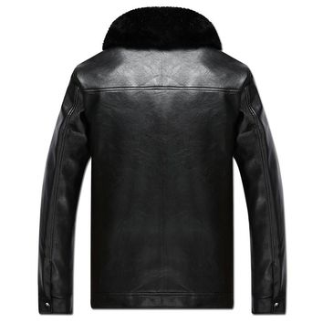 new Autumn Winter Faux Fur Leather Jacket for Men size mlxl