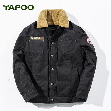 New TAPOO Brand Thicken Fleece Parka Men Military Style Winter Flight Pilot Jacket Men Fashion Embroidery Warm Male Coats