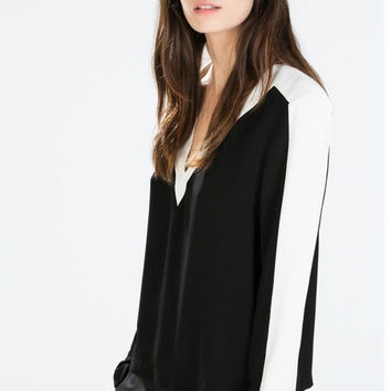 Long Sleeve Black and White Blouse