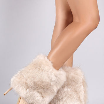 Fold Down Faux Fur Shaft Pointy Toe Stiletto Boots