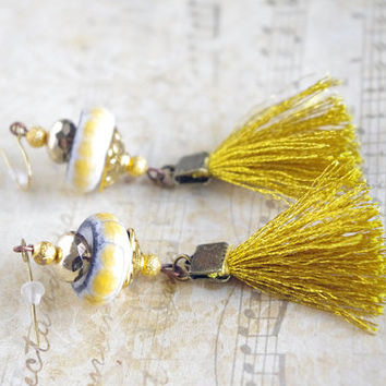 Boho Fringe Earrings / Gold Yellow tassel Earring dangle / Textile and ceramic Jewelry