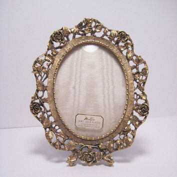Vintage MATSON Picture Frame 24kt Gold Plated, Roses New Old Gold, Wedding Photo Frame, Hollywood Glam