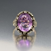 Austro Hungarian Arts & Crafts Silver Amethyst Ring