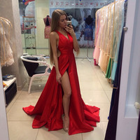 Backless Prom Dress Red Prom Dresses Chiffon  Backless Evening Dresses
