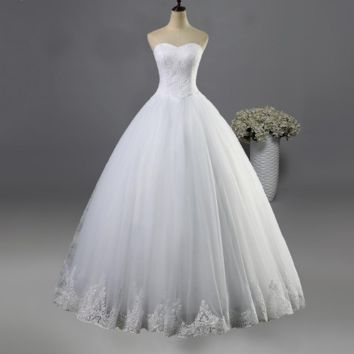 White Ivory Wedding Dress Lace Prom Gown Bridal Dresses Lace Bottom
