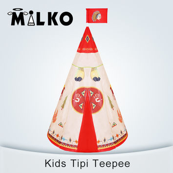 Natural Indian Pattern Children Toy Tent Teepees Safety tipi Portable Playhouse for Kids Indoor Game Tents Outdoor Tente Enfant