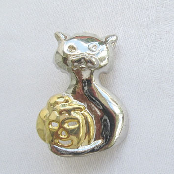 Cat Holding a Stylized Pumpkin Pin Holiday Jewelry