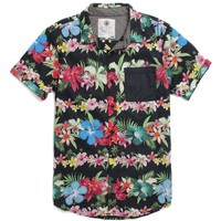 On The Byas Fleured Lines Short Sleeve Woven Shirt - Mens Shirt - Black -