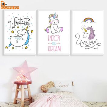 Unicorn Dream Quotes Wall Art Canvas Painting Nordic Posters And Prints Cartoon Animals Wall Pictures Baby Kids Room Girls Decor