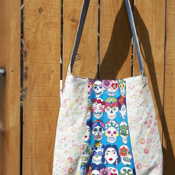 Frida and Skulls on Blue with Subtle Spring Floral Tri Panel Tote Hip Bag
