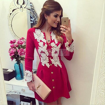 Red Lace Panel Long Sleeve Buttoned Dress
