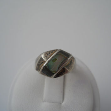 Sterling Silver 925 Channel Set Abalone Ring Size 6 Mexico 925