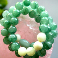 Italian Onyx and Green Aventurine Healing Energy Bracelet Stack