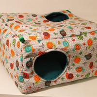 Hanging Ferret Cube, Rat Cage Box, Guinea Pig Cozy - Snails with Teal Fleece
