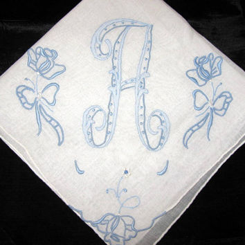 Handkerchief with Initials A Handkerchief Vintage Embroidered Letter A Monogram