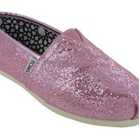 TOMS Women's TOMS CLASSICS CASUAL SHOES 7.5 (PINK GLITTER)