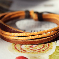 Spring Gift Fashion Adjustable real Leather and Multicolor Cotton rope Bracelet cuff  M-38