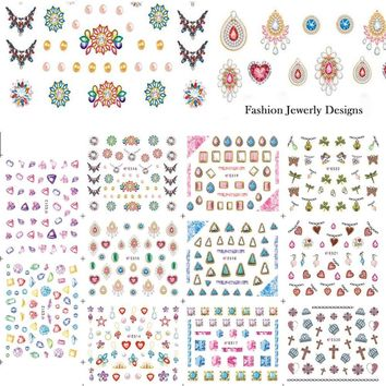 11 Designs Gorgeous Jewelry Diamond Necklace Pattern Nail Art Sticker Sets 3d DIY Women Designs Nail Decals Tips E512-522