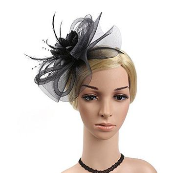 YSJOY Womens Feather Veil Mesh Flower Fascinator Bridal Wedding Hat
