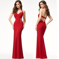Backless Halter Cut Out Long Party Dress