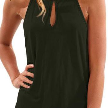 Army Green Cut Out Front Sleeveless Curved Hem Top