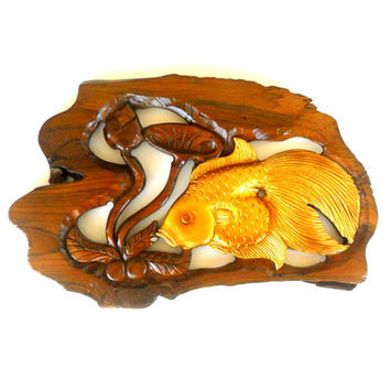 "Wood Carving Gold Fish With Lotus Flower Hand Carved Natural Teak Wood  Fish Wall Hanging Art Home Decor Handmade / Gift 13.5"" x 8.75"""