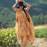 Women Ramie Casual Printing Maxi Dress Yellow
