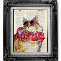 DECORATIVE ART Wall Hanging Decor - Cat Art, Cat Print, CAT Painting, Cool Cat Poster, Funny Cat Artwork Stuff - Fat Cat Sunglasses & Scarf