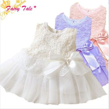 Baby Kids Girls Lace Bowknot Flower Dress Princess Dress Formal Party Tutu Dress Children Clothes 5 Colors