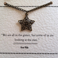 Star & Flower Metal Charm Necklace - Oscar Wilde Quote