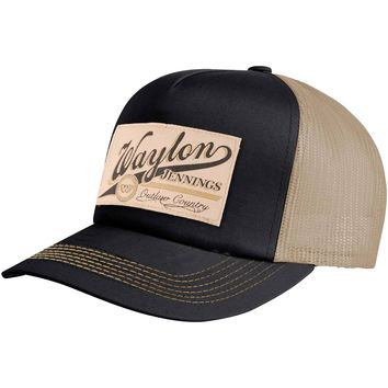 Waylon Jennings Men's  Patch Trucker Hat Trucker Cap Cream