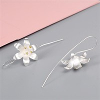 Fashion brand jewelry women high-grade Thai silver earrings handmade crafts flowers earrings retro exaggerated