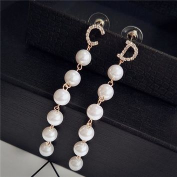 Letter CD earring beautiful jewelry six pearl women simple Drop earring Accessories gift Nickel-free