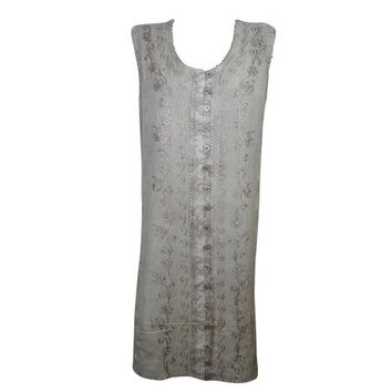 Mogul Womens Shift Dress Grey Embroidered Button Front Sleeveless Bohemian Tank Dresses - Walmart.com