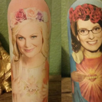 Amy Pohler and Tina Fey Celebrity Prayer Saint Candle set