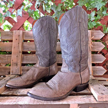 J Chisholm cowboy boots / Mens  9.5 D / vintage 80s / handcrafted USA /  gray leather /  western