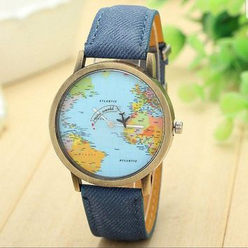 New Global Travel By Plane Map Wrist Watch Fabric Band | Blue
