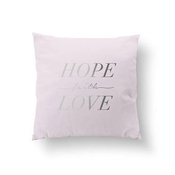 Hope Faith Love Pillow, Typography Pillow, Gold Pillow, Home Decor, Cushion Cover, Throw Pillow, Bedroom Decor, Bed Pillow,Decorative Pillow