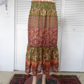 Elastic Band Broomstick Hippie Skirt Layered Long Boho Bohemian Style Clothes Purple Pink Green Cowgirl Glam Clothing Vintage